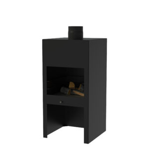 Black Heat Resistant Stig Log Burner without Door by Adezz 50x50x100cm