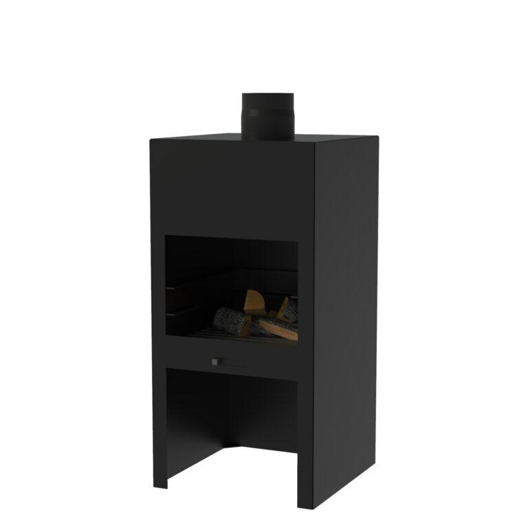 Black Heat Resistant Stig Log Burner without Door by Adezz 50x50x100cm