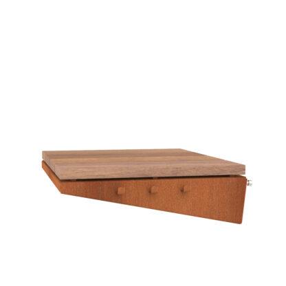 Corten Steel Damm BBQ Wooden Side Plate by Adezz 45x50x13cm