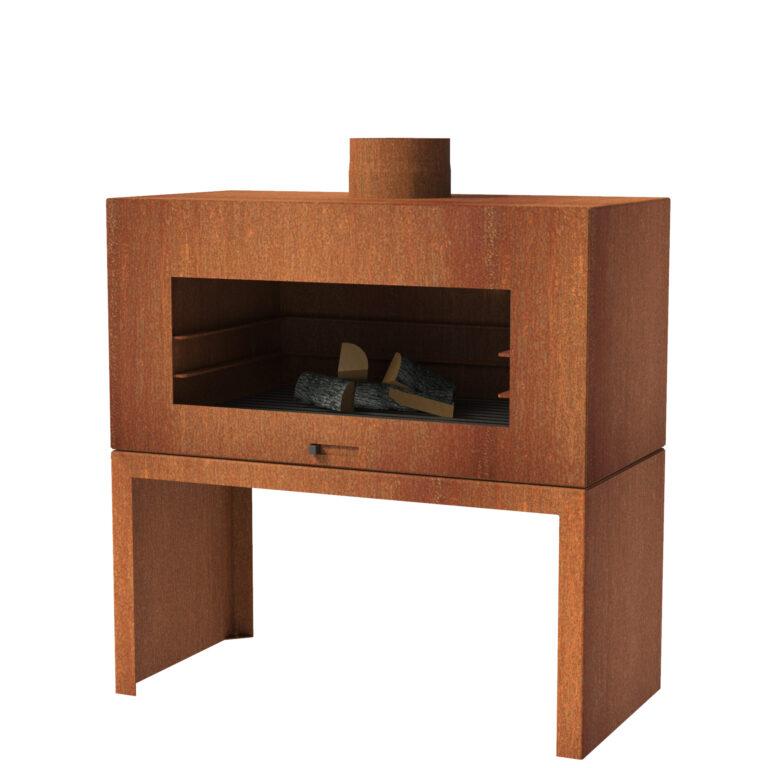 Corten Steel Free Standing Enok Log Burner by Adezz 100x50x100cm