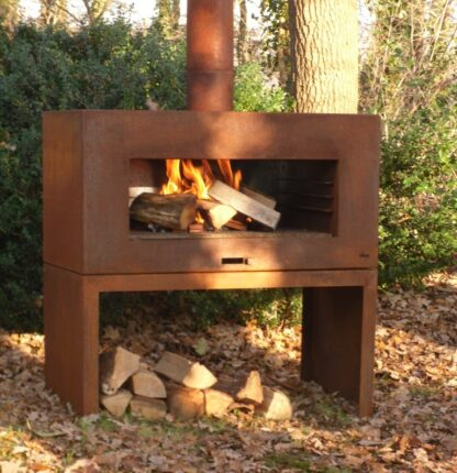 Corten Steel Free Standing Enok Log Burner by Adezz 100x50x100cm Lifestyle1