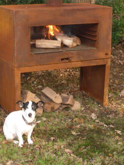 Corten Steel Free Standing Enok Log Burner by Adezz 100x50x100cm Lifestyle2