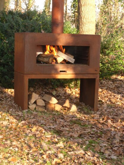 Corten Steel Free Standing Enok Log Burner by Adezz 100x50x100cm Lifestyle3