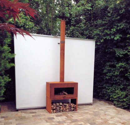 Corten Steel Free Standing Enok Log Burner by Adezz 100x50x100cm Lifestyle4