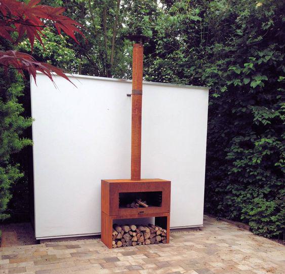 Corten Steel Free Standing Enok Log Burner by Adezz 100x50x100cm Lifestyle4
