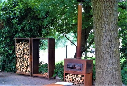 Corten Steel Free Standing Enok Log Burner by Adezz 100x50x100cm Lifestyle5