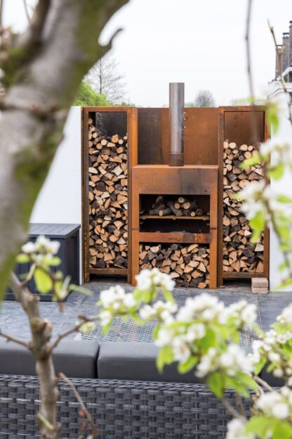Corten Steel Free Standing Enok Log Burner by Adezz 100x50x100cm Lifestyle6