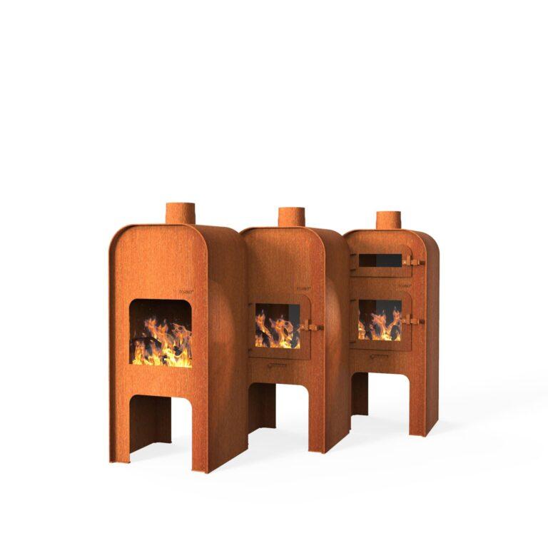 Corten Steel Gap Door Range Log Burner by Adezz 55x50x120cm