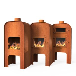 Corten Steel Gap Door Range Log Burner by Adezz 75x50x150cm