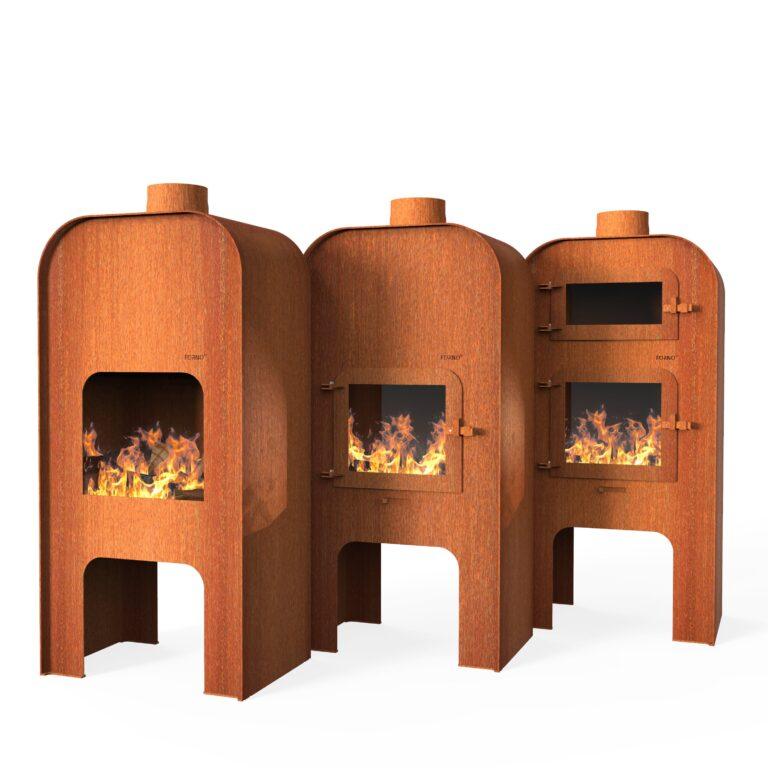 Corten Steel Gap Door Range Log Burner by Adezz 75x50x150cm