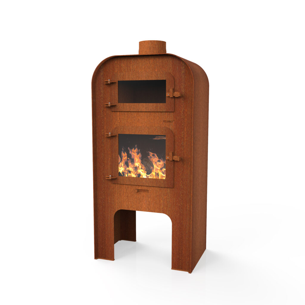 Corten Steel Gap With Door + Pizza Door Log Burner by Adezz 75x50x150cm