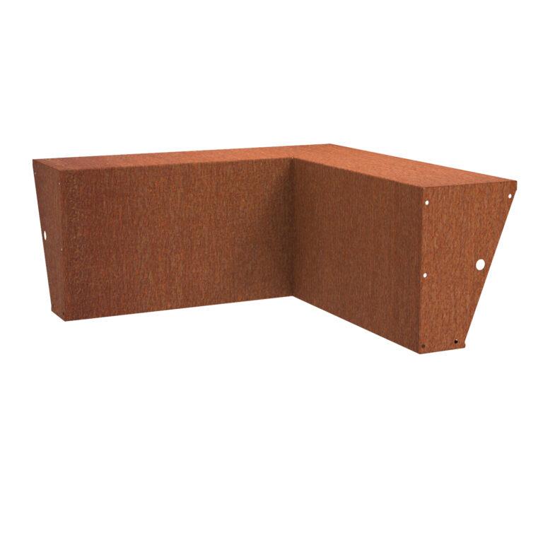 Corten Steel Inside Corner Wide-Top Retaining Wall by Adezz 60x100x40