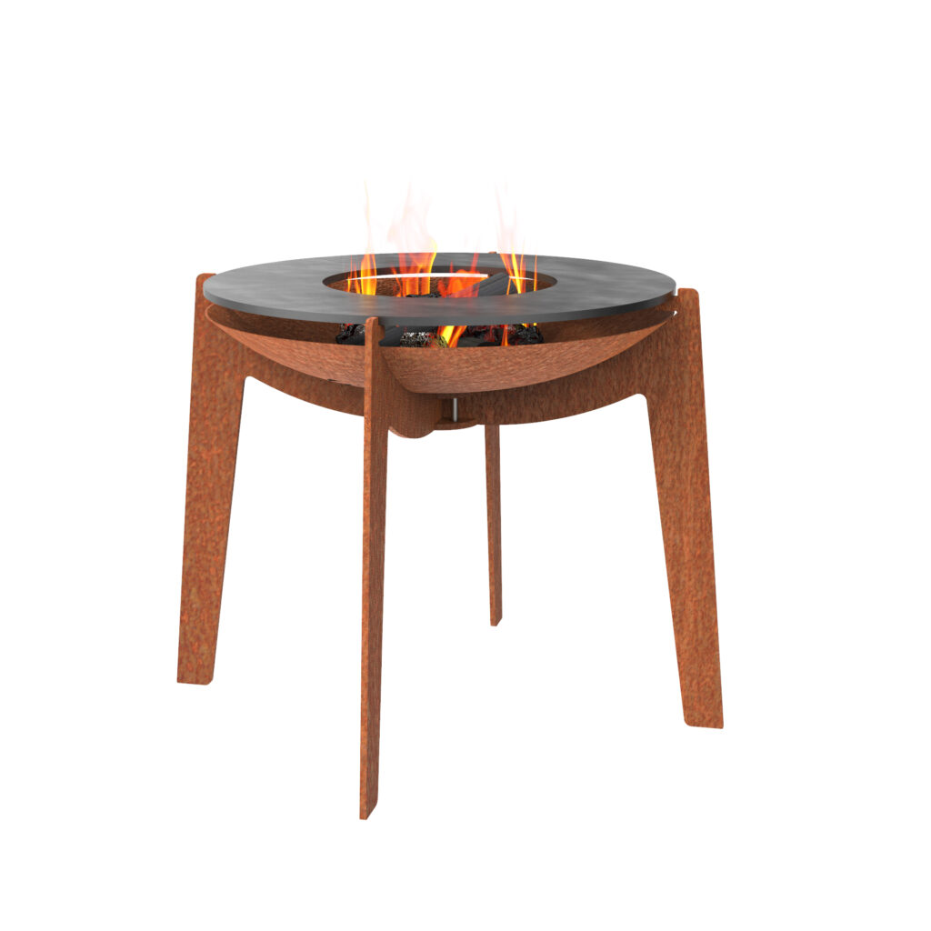 Corten Steel Quad BBQ with Hot Plate by Adezz 60x57cm