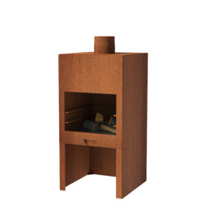 Corten Steel Stig Log Burner without Door by Adezz 50x50x100cm