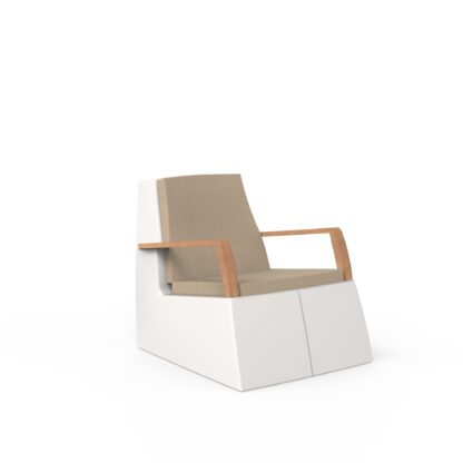 Original Series Arm Chair White (RAL 9016) Teak Armrests with Cushion by One To Sit 72x94x77