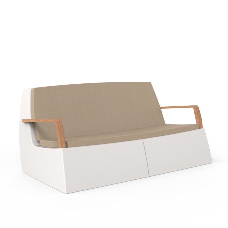 Original Series Sofa White (RAL 9016) Teak Armrest with Cushion by One To Sit 165x94x77cm