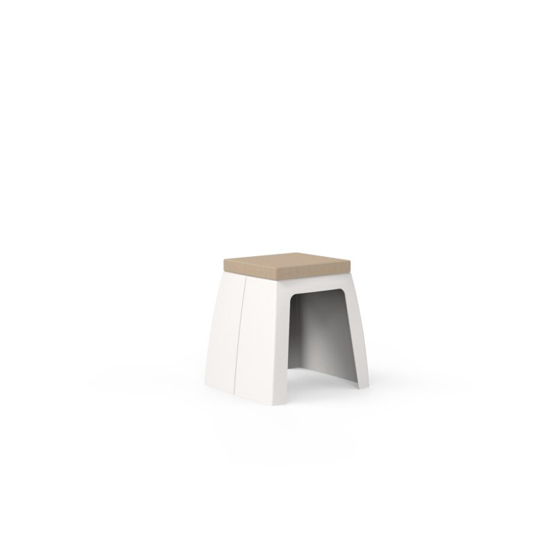 Original Series Stool with Cushion White (RAL 9016) by One To Sit 45x40x45cm