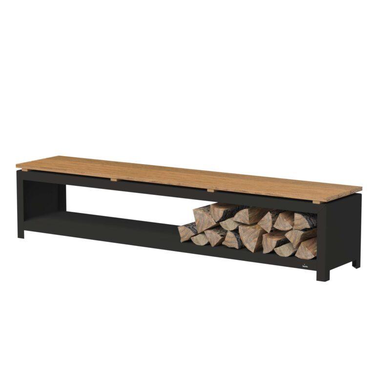 Black Heat Resistant Wood Storage Bench by Adezz 200x40x43cm