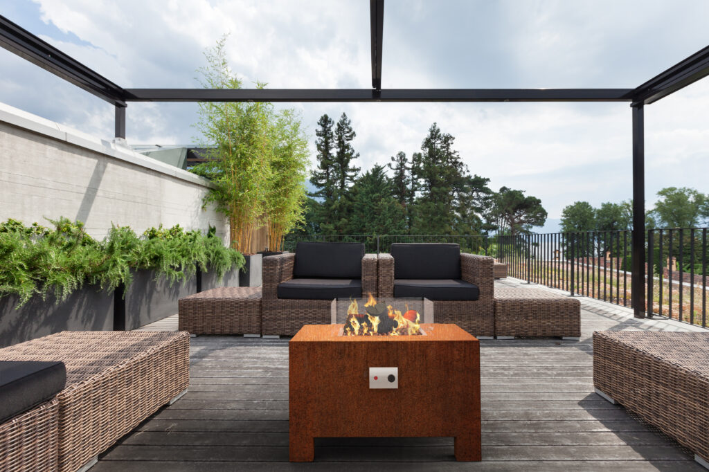 Corten Steel BRANN Gas Fire Pit Lifestyle1