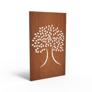 Corten Steel Grand Tree Garden Panel by Adezz 110x5x180cm