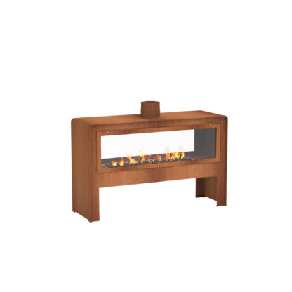 Corten Steel Icon Gas Fire Pit Glass Back by Adezz 121x40x76cm