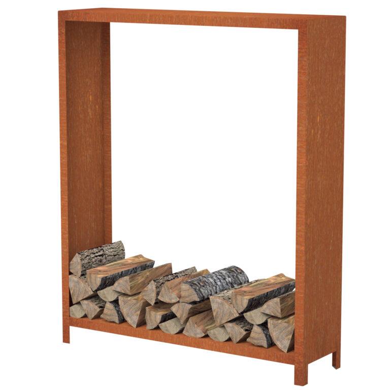 Corten Steel Tall Wood Storage Unit by Adezz 150x40x180cm
