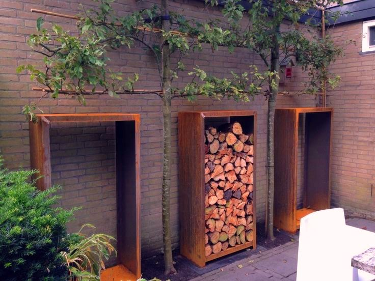 Corten Steel Tall Wood Storage Unit by Adezz Lifestyle photo3