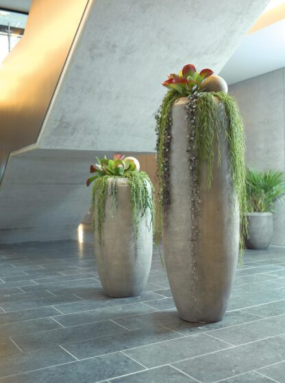 Grey Polystone Cigar Planter 47x55cm Lifestyle3