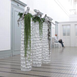 Mosaic Column Planter Glossy White 30x132cm Lifestyle5