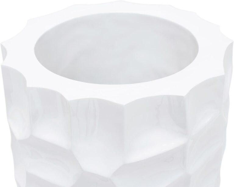 Mosaic Column Planter Glossy White 32x90cm Lifestyle1