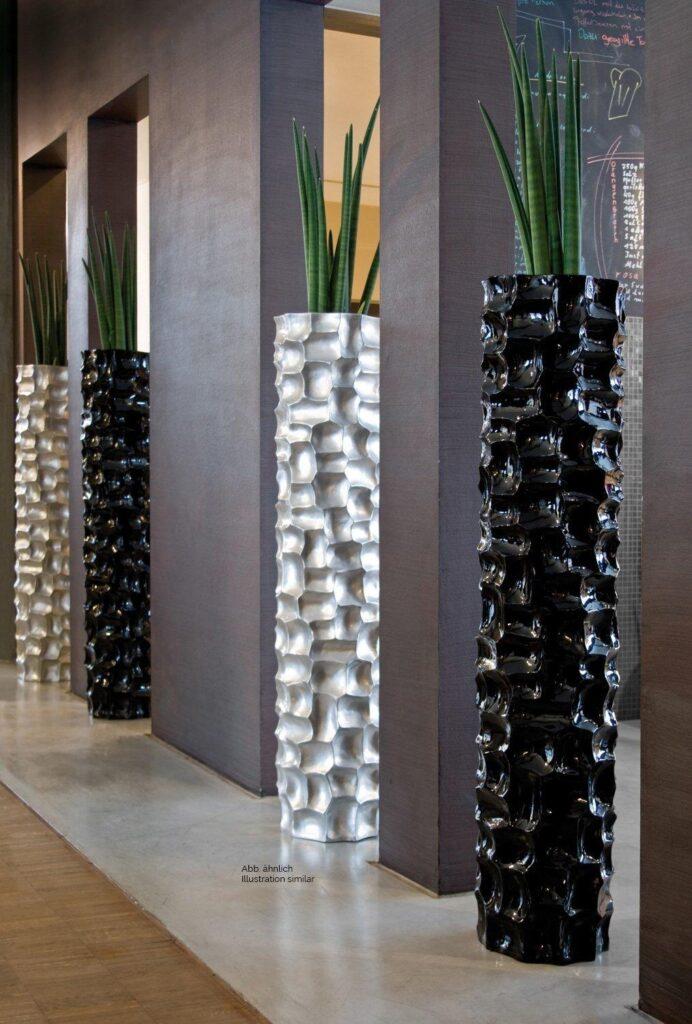 Mosaic Column Planter Metallic Silver 30x132cm Lifestyle1