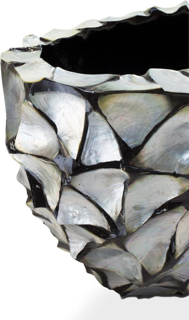 Shell Oval Planter Silver-Blue 60x26x30cm Lifestyle1