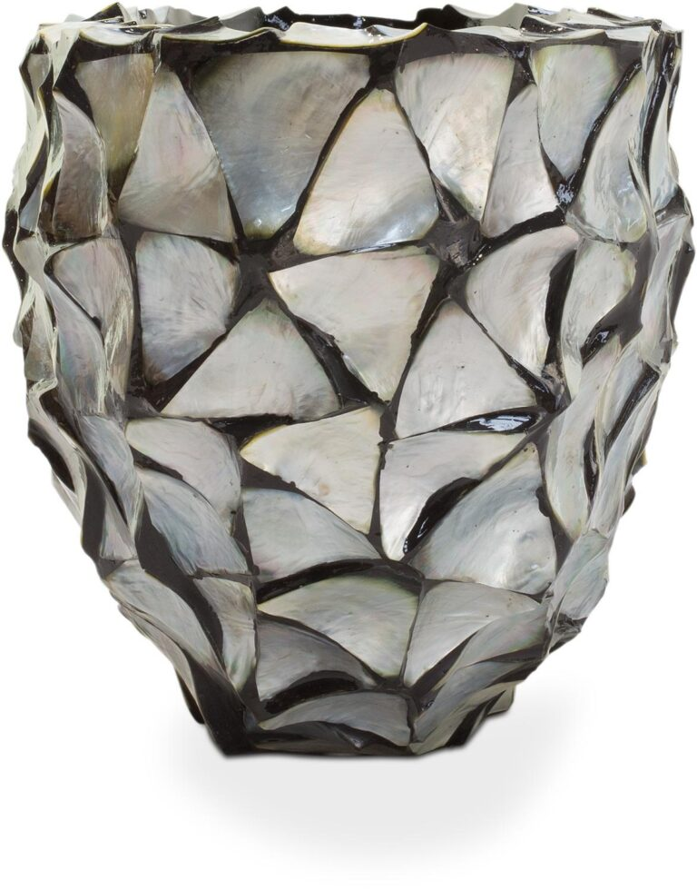 Shell Oval Planter Silver-Blue 60x26x30cm Lifestyle2