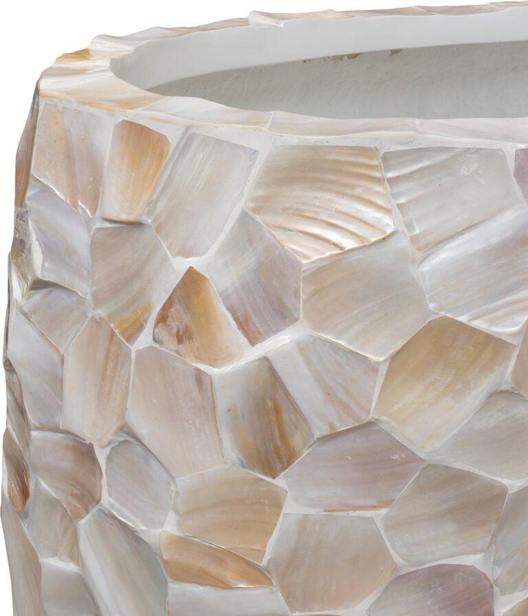 Shell Pinched Bowl Planter White 90x40x100cm Lifestyle1