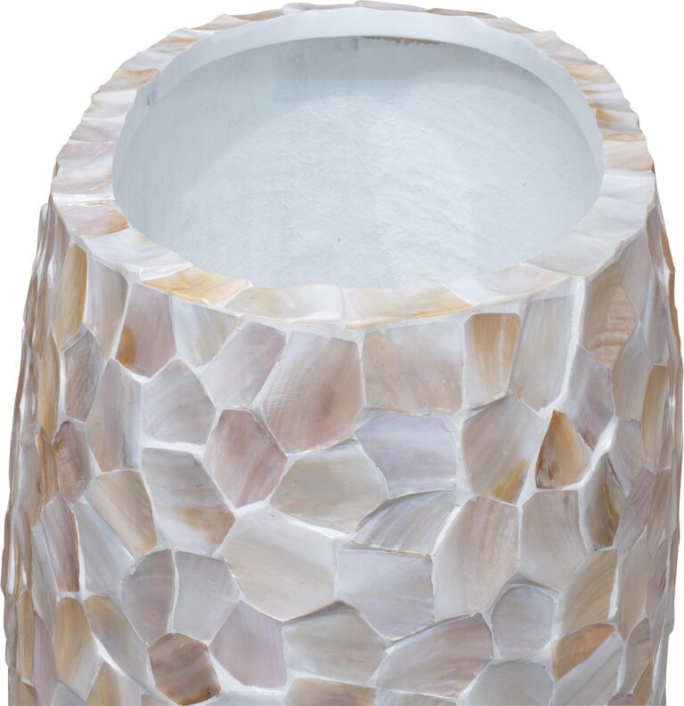 Shell Pinched Bowl Planter White 90x40x100cm Lifestyle2