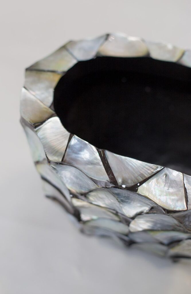 Shell Table Planter Silver-Blue 60x15x18cm Lifestyle1