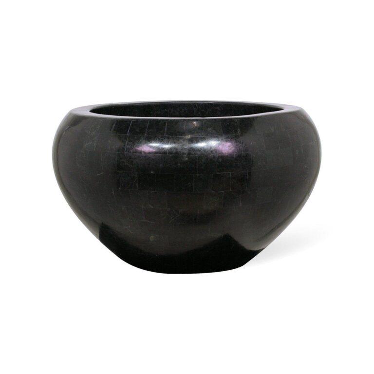 Stone Mosaic Bowl Planter Black 50x28cm