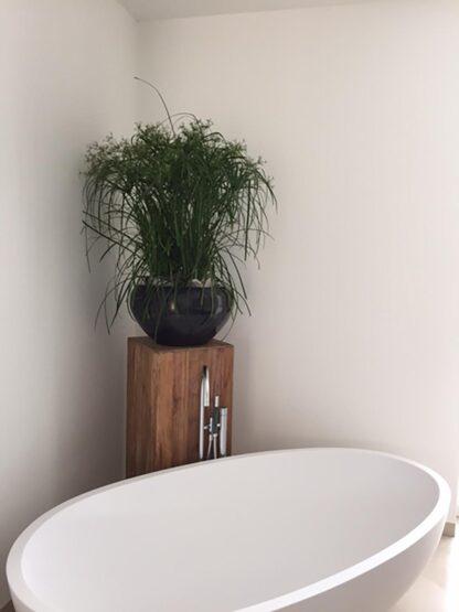 Stone Mosaic Bowl Planter Black 50x28cm Lifestyle1