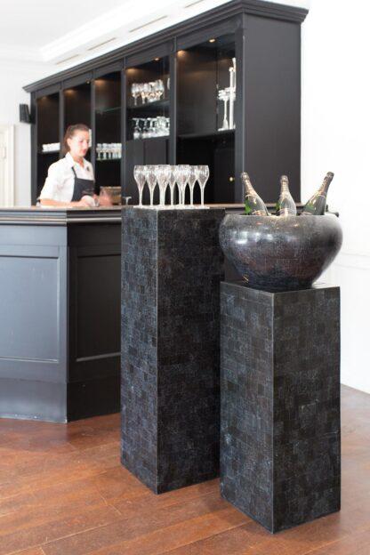 Stone Mosaic Bowl Planter Black 50x28cm Lifestyle5