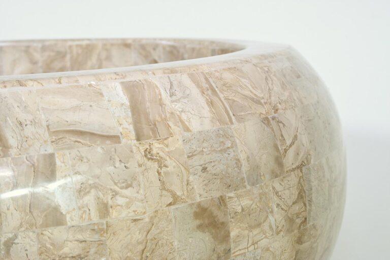 Stone Mosaic Bowl Planter Cappuccino 50x28cm Lifestyle1