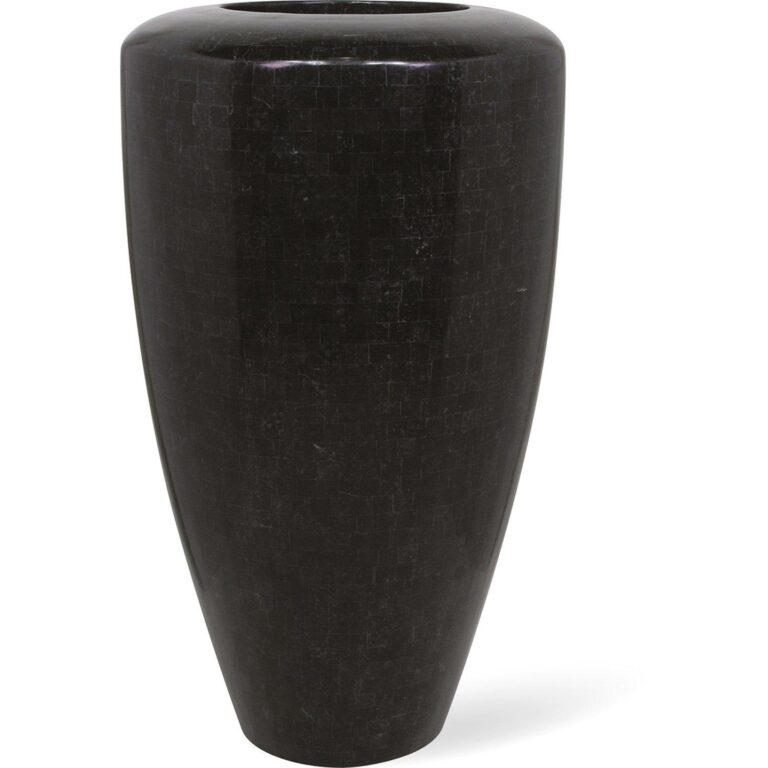 Stone Mosaic Conical Planter Black 60x110cm