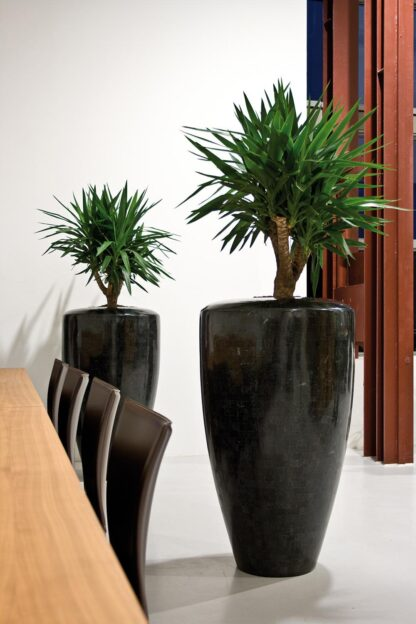 Stone Mosaic Conical Planter Black 60x70cm Lifestyle3