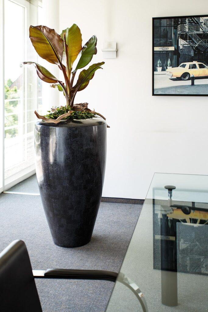 Stone Mosaic Conical Planter Black 60x70cm Lifestyle4