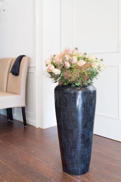 Stone Mosaic Vase Planter Black 35x72cm Lifestyle1