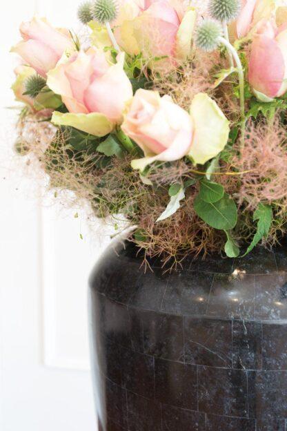 Stone Mosaic Vase Planter Black 35x72cm Lifestyle2