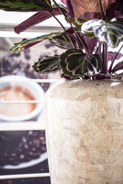 Stone Mosaic Vase Planter Cappuccino 35x72cm Lifestyle2