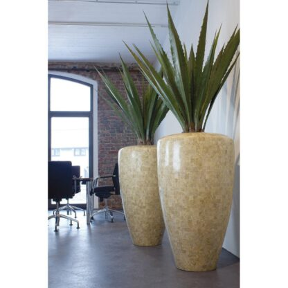 Stone Mosiac Conical Planter Cappuccino 60x110cm Lifestyle1