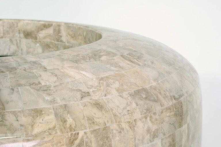 Stone Mosiac Conical Planter Cappuccino 60x70cm Lifestyle1