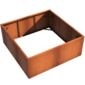 Corten Steel Square Vegetable Planter by Adezz 200x200x80cm