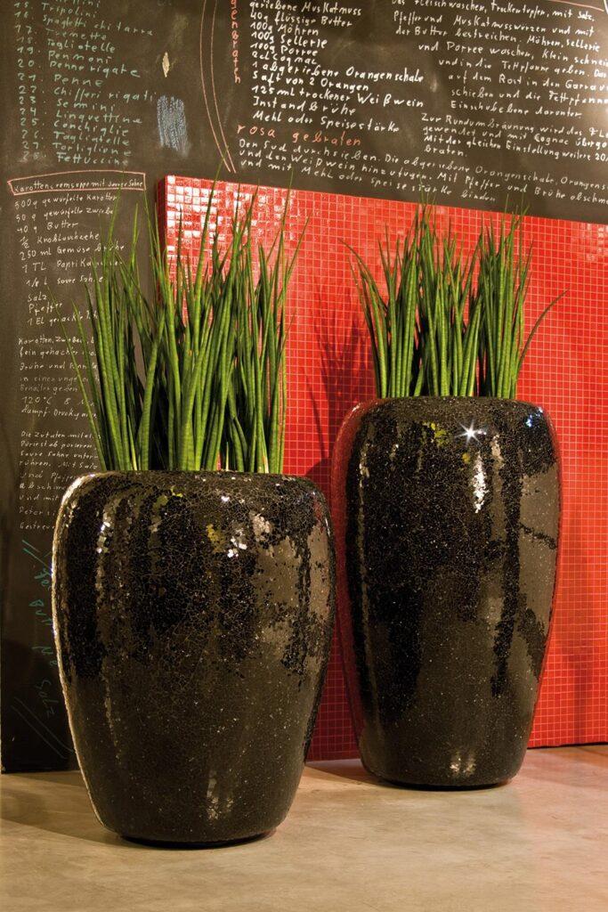 Glass Mosaic Standard Black Planter 52x87cm Lifestyle1